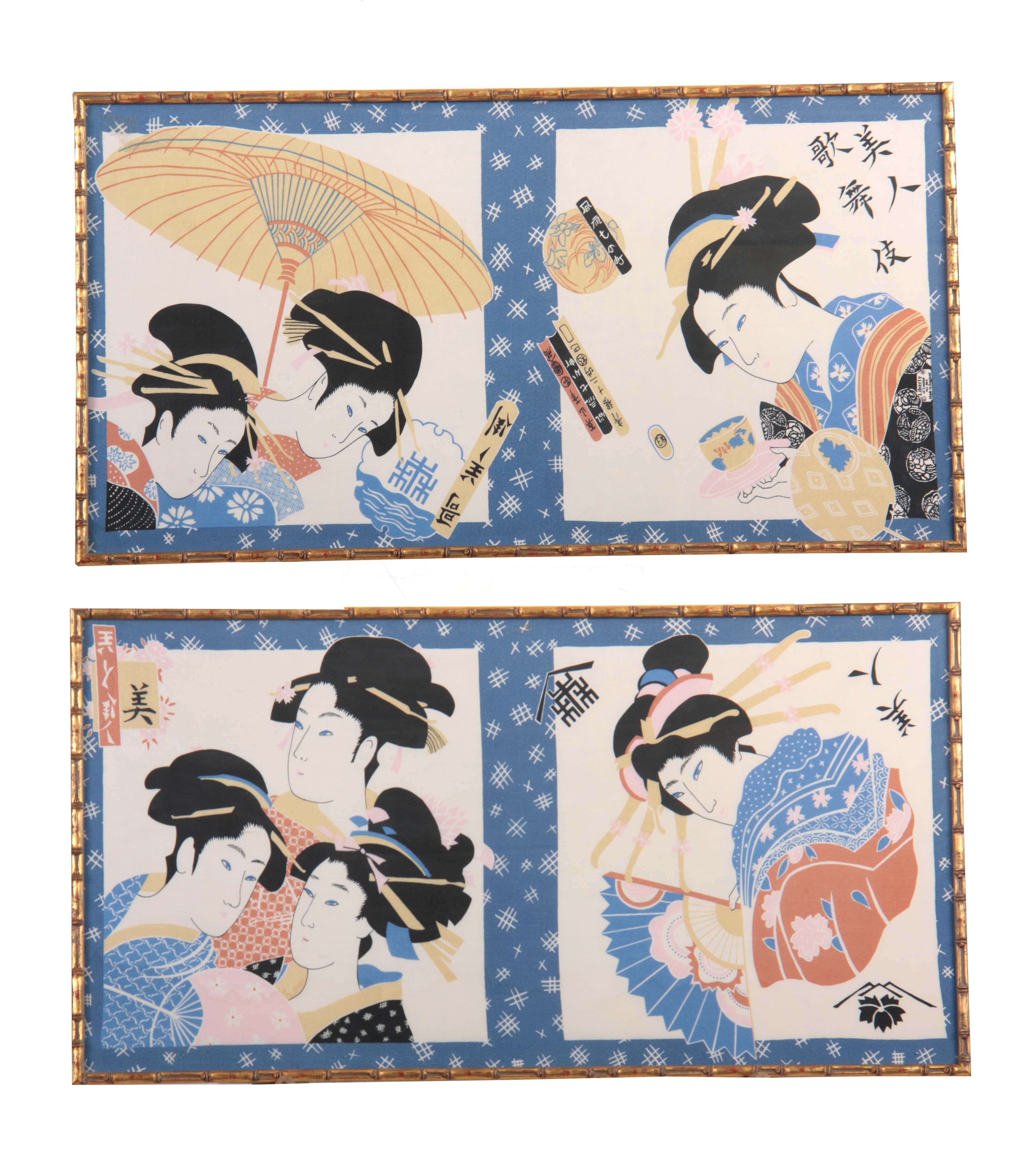 Lot 956 - A PAIR OF JAPANESE DESIGN LIBERTY HAND PRINTED SILKS depicting female Geishas 43cm high 83cm