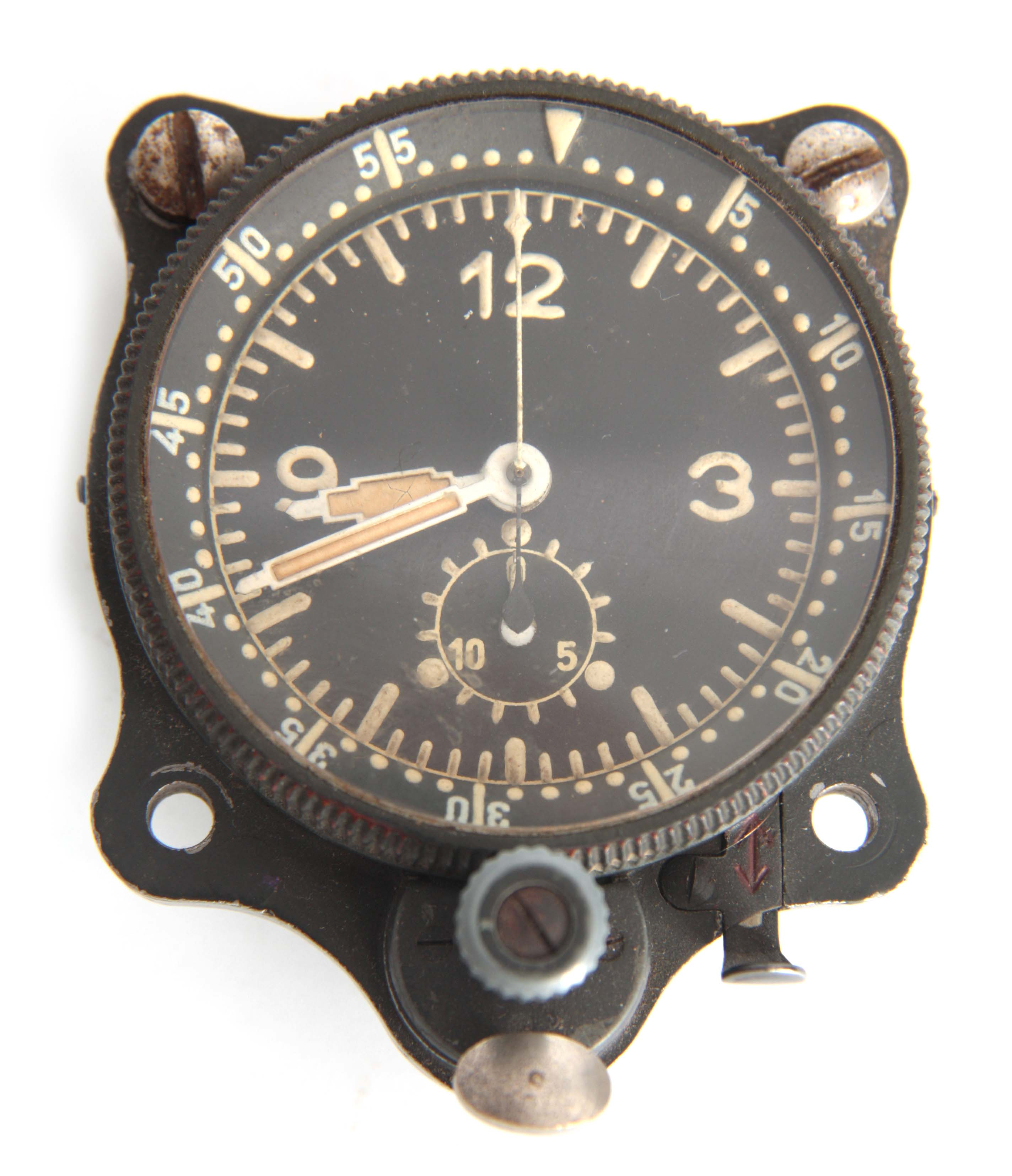 Lot 764 - A GERMAN WW2 LUFTWAFFE NAVIGATOR'S COCKPIT CLOCK the black alloy case with rotating bezel