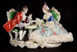 A DRESDEN STYLE CONTINENTAL PORCELAIN FIGURE GROUP finely modelled and coloured as chess players