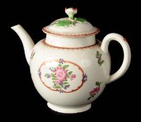 AN 18TH CENTURY ENGLISH PORCELAIN TEAPOT possibly Worcester of bulbous form with flower-bud finial