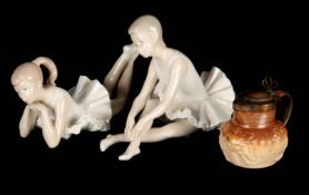 A PAIR OF NAO SPANISH FIGURES OF DANCING GIRLS 22cm wide and 16cm high together with A SMALL 19TH