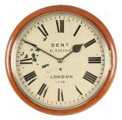 DENT. 61 STRAND LONDON. No. 1808 A LATE 19TH CENTURY MAHOGANY FUSEE WALL CLOCK the moulded