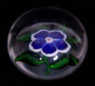 A 19TH CENTURY BACCARAT BLUE PANSY SPRAY PAPERWEIGHT with star cut base 6cm diameter