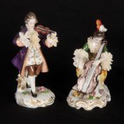 A PAIR OF GERMAN DRESDEN STYLE CLASSICAL MUSICIAN FIGURES modelled as a violinist and cellist, on