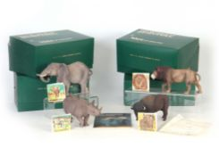 A GROUP OF FOUR WADE, ENGLAND 'WORLD OF SURVIVAL' WILD ANIMAL FIGURES comprising African Elephant,