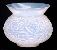 AN R LALIQUE OPALESCENT FONTAINEBLEAU VASE 1930's the bulbous body relief moulded with continuous