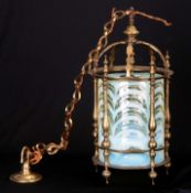 A GOOD LATE 19TH CENTURY ELECTRIFIED BRASS FRAMED HANGING HALL LANTERN complete with brass hanging