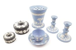 Collection of Pale Blue & Black Basalt Wedgwood Jasperware inc. Flower holder, Candlestick etc