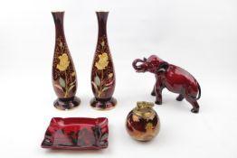 Collection of Carlton ware Rouge Royale (9), Carltonware 1950s Bowl, Royal Doulton Flambe Elephant