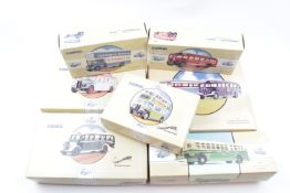 Collection of 15 Boxed Corgi Classics Buses and Removal Vehicles inc. 'Bedford Pantechnicon',