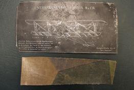 World War One Aircraft data plate/tension diagram, 'Verspannungs-Schema. Ru CIV. Mit Gehobenen