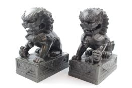 Pair of Good Quality Chinese Hand carved Hard stone Dogs of Foe 23cm in Height