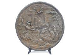 19thC Circular Cast plaque of a classical scene 27cm in Diameter (No Foundry mark)