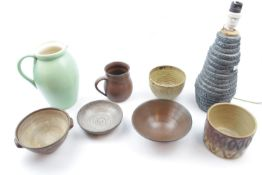 Good collection of 20thC Studio Pottery inc. Lamp Base, Ewer, rice bowls etc