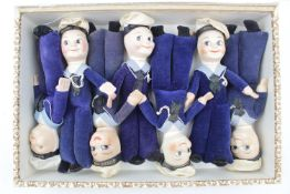 Collection of Seven Sailor Dolls all marked with cap ribbons, Queen Mary, Andes, S A Vaal etc