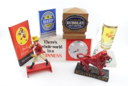 Collection of Pub Advertising items to include Booth Gin Lion, Carlsberg Pump top, Ruddles, Double