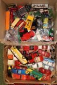 2 Boxes of assorted Play worn vehicles inc. Corgi Matchbox etc