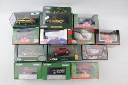 Collection of Corgi Mini Mania (9) Three Gold Plated Jaguars XK120, E Type, MK11 and a boxed Mini