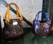 Three glass baskets and basket