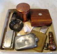A cloisonné handle, vesta case, flask, cigarette case and other items