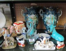 A crested miniature teaset, pair of Edwardian vases decorated swans, Murano glass swan and other