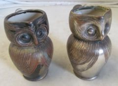 A pair of silver lustre owl jugs
