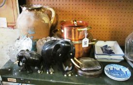 Two copper pots, two elephants, blue and white dishes et cetera