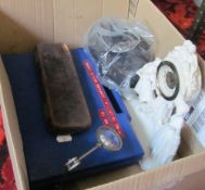A Lubital camera, various geometry items, a gilder's wheel and other miscellaneous items