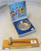 A Mickey Mouse silver-plated bowl by Cavalier boxed and a gavel on stand