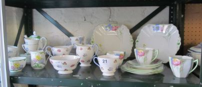 A Shelley floral part teaset No.2512 another Shelley part teaset G12069 (slightly a/f) and a