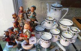 Nine Hummel figures (all a/f) and a part coffee set