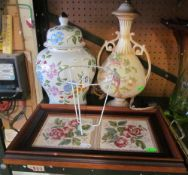 A two handled tile tray, Crown Ducal table lamp and shade and a ginger jar