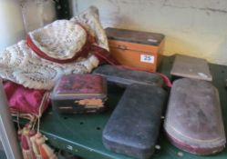 A silk cover, hat, jewellery box and other boxes