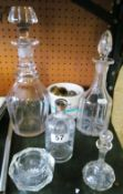 Two decanters, other glass and stoppers