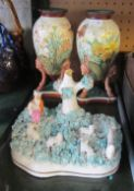 A pair of Victorian vases decorated butterflies amongst flowers (slightly a/f) and other ornaments