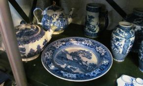 A Wedgwood Fallow Deer plate, teapot (a/f) and other blue and white china, hunting tureen and
