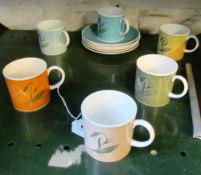 A harlequin set of six Susie Cooper coffee cups and saucers flower design (one yellow saucer