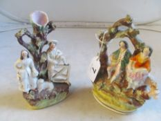 Two 19th Century Staffordshire groups men and women and two other Staffordshire style figures