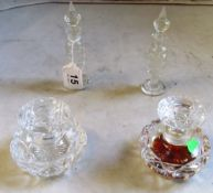 A pair tall glass scent bottles and pair squat scent bottles