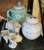 An oriental teapot and other china