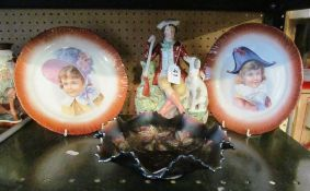 A Staffordshire style figure man with gun and dog, pair Edwardian plates depicting children and a