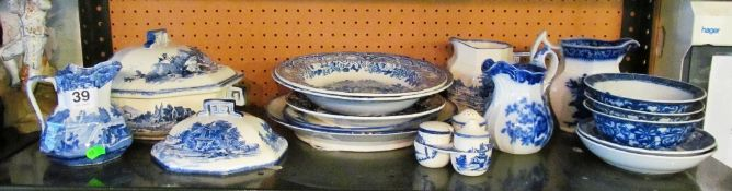 A Copeland Spode blue and white jug, Royal Doulton Norfolk pattern dinner ware and other blue and