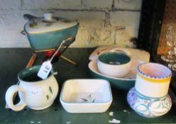 A Poole vase, ginger jar, Denby lidded saucepan on stand etc