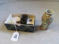 A horn egg cup and spoon (boxed), oriental lacquer box, famille rose small vase and a copper