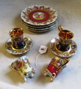 Four Vienna plates, four saucers and four cups
