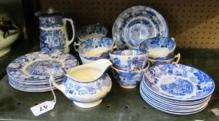 A Woods ware blue and white tea service eight cups, saucers, plates and a milk jug and a George