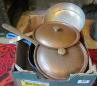 Three copper pans, a Rumtoft and a Poole Pottery tureen