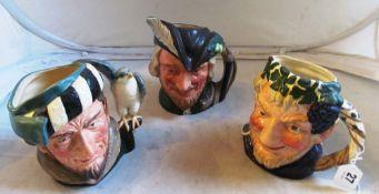 Three Royal Doulton character mugs