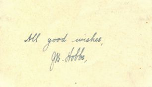 HOBBS JACK: (1882-1963) Sir John Berry Hobbs. English professional Cricketer.