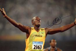 "BOLT USAIN: (1986- ) Jamaican Sprinter. Known as ""Lightning Bolt""."